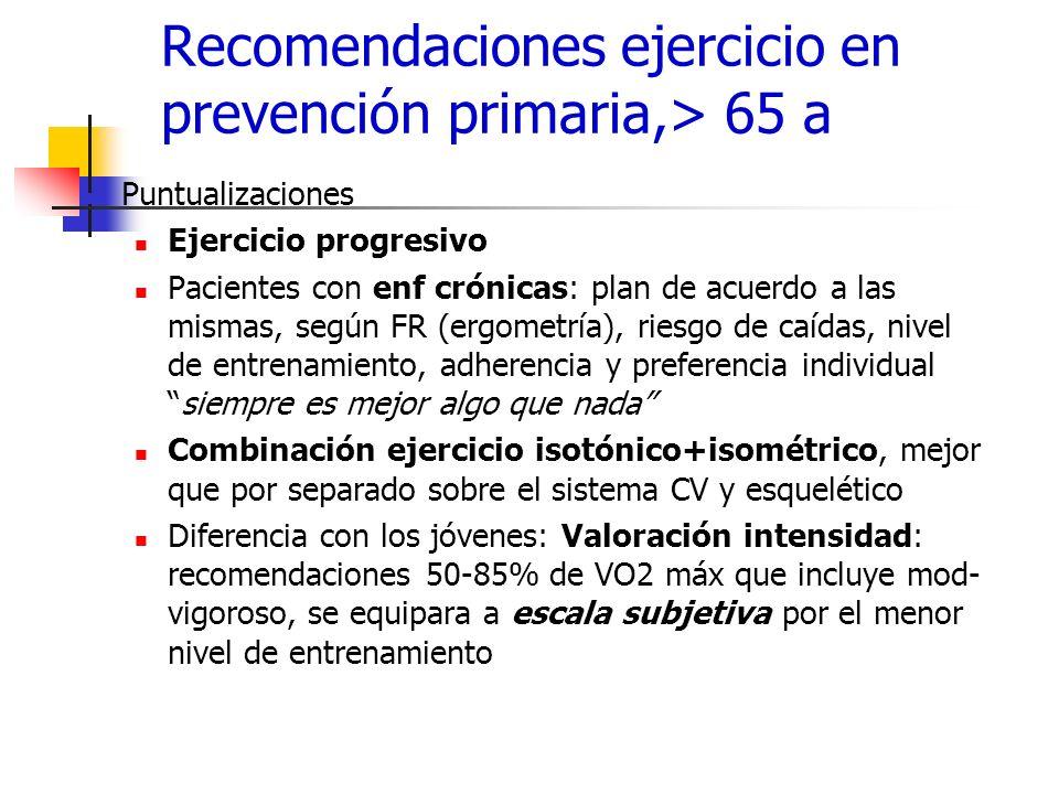 Recomendaciones ejercicio en prevención primaria,> 65 a Puntualizaciones Ejercicio progresivo Pacientes con enf crónicas: plan de acuerdo a las mismas