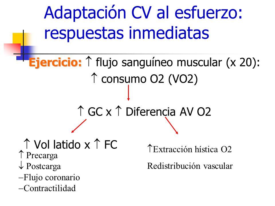 Recomendaciones ejercicio en prevención primaria,18-65 a Ejercicio aeróbico: 30 min moderado *(3-6 METS) 5 días /sem, ó 20 min vigoroso (>6 METs) 3 día/sem, ó combinaciones ( 10 min serie) (asociado a la act habitual) (clase I A) Ejercicio fuerza muscular: 8-10 ejercicios, 8-12 rep (1-3 sets), 2 d/sem (no consecutivos) varios grupos musculares: (clase IIA) Combinaciones de ejercicio moderado/vigoroso: no estudios randomizados, parece que sí puede ser beneficioso (clase IIA) Para mantener peso: 60-90 min a diario –Tiempo acumulado: series (st para FRCV), mayor duración y menor intensidad para asegurar el gasto calórico adecuado.