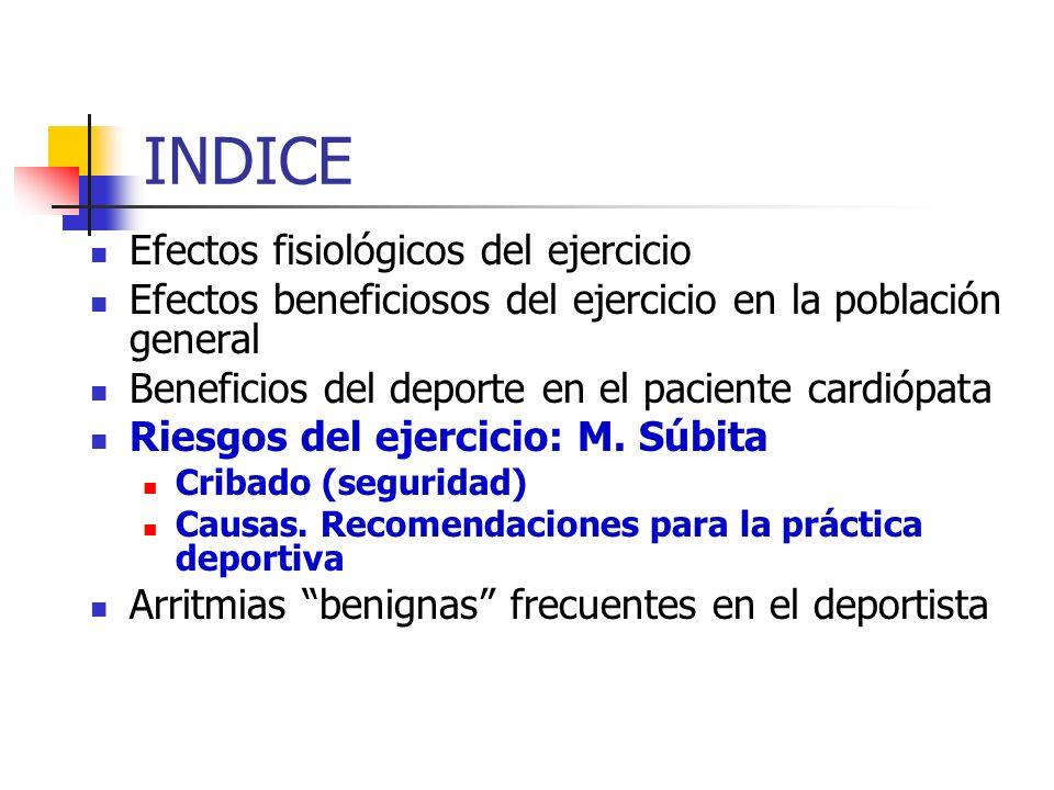 INDICE Efectos fisiológicos del ejercicio Efectos beneficiosos del ejercicio en la población general Beneficios del deporte en el paciente cardiópata