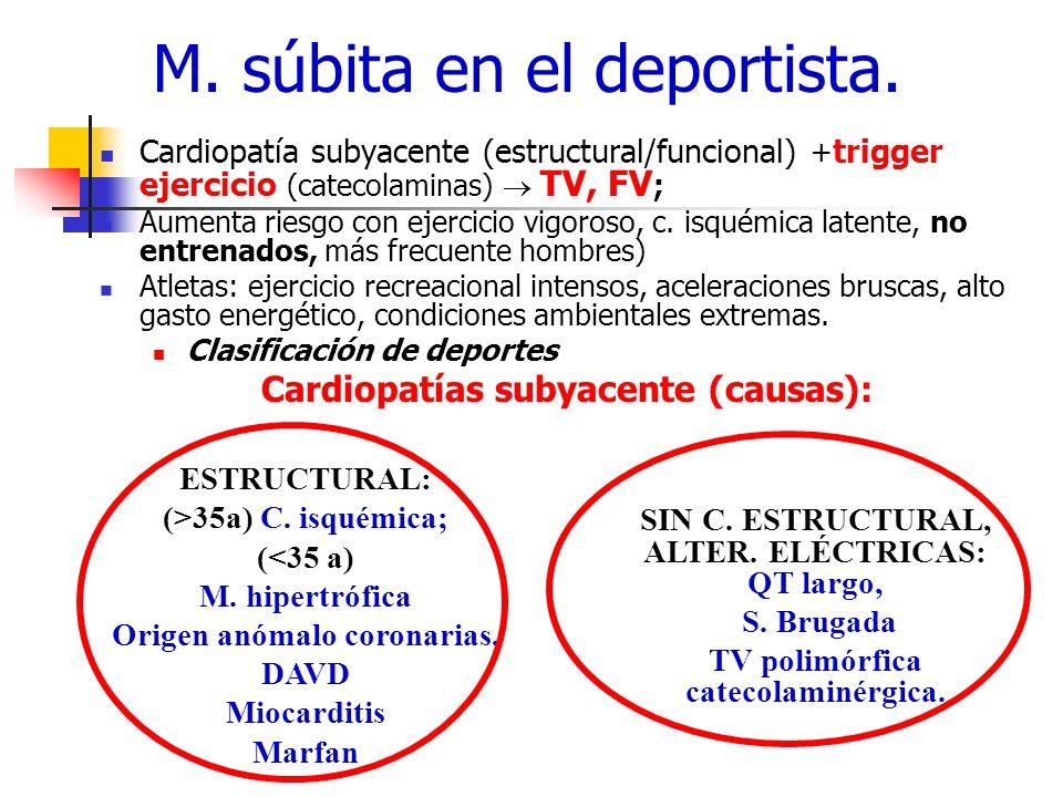 Cardiopatía subyacente (estructural/funcional) + trigger ejercicio (catecolaminas) TV, FV ; Aumenta riesgo con ejercicio vigoroso, c. isquémica latent
