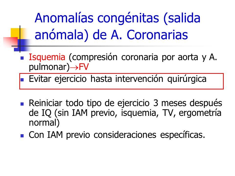 Anomalías congénitas (salida anómala) de A. Coronarias Isquemia (compresión coronaria por aorta y A. pulmonar) FV Evitar ejercicio hasta intervención
