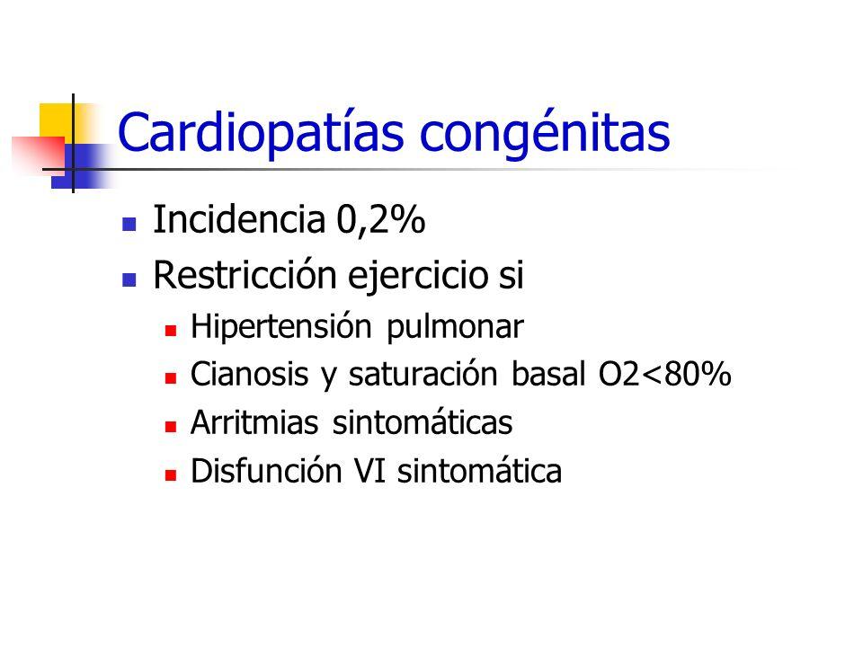 Cardiopatías congénitas Incidencia 0,2% Restricción ejercicio si Hipertensión pulmonar Cianosis y saturación basal O2<80% Arritmias sintomáticas Disfu