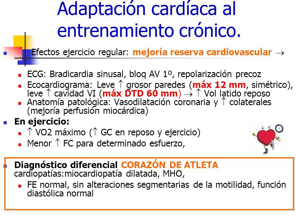 Adaptación cardíaca al entrenamiento crónico. Efectos ejercicio regular: mejoría reserva cardiovascular ECG: Bradicardia sinusal, bloq AV 1º, repolari