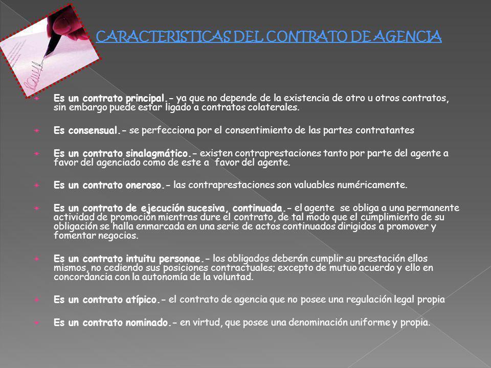 Es un contrato principal.- ya que no depende de la existencia de otro u otros contratos, sin embargo puede estar ligado a contratos colaterales. Es co