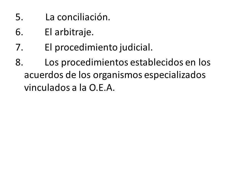 5. La conciliación. 6. El arbitraje. 7. El procedimiento judicial. 8. Los procedimientos establecidos en los acuerdos de los organismos especializados
