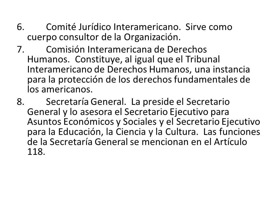 6. Comité Jurídico Interamericano. Sirve como cuerpo consultor de la Organización. 7. Comisión Interamericana de Derechos Humanos. Constituye, al igua