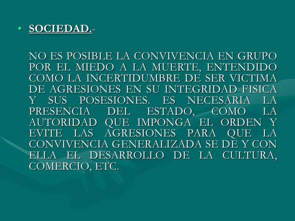 AUTORIDAD.-AUTORIDAD.- TODOS LOS HOMBRES SACRIFICAN SU LIBERTAD A HACER TODO LO QUE DESEAN Y PUEDAN Y SE LA DAN A UN TERCERO, EL SOBERANO O ESTADO, CON TAL QUE ESTE IMPONGA EL ORDEN Y EVITE LA GUERRA PERMANENTE ENTENDIDA COMO LA INSEGURIDAD ANTE LA POSIBILIDAD SIEMPRE PRESENTE DE SER VICTIMA DE LA AGRESION Y ANIQUILAMIENTO POR PARTE DE LOS OTROS.