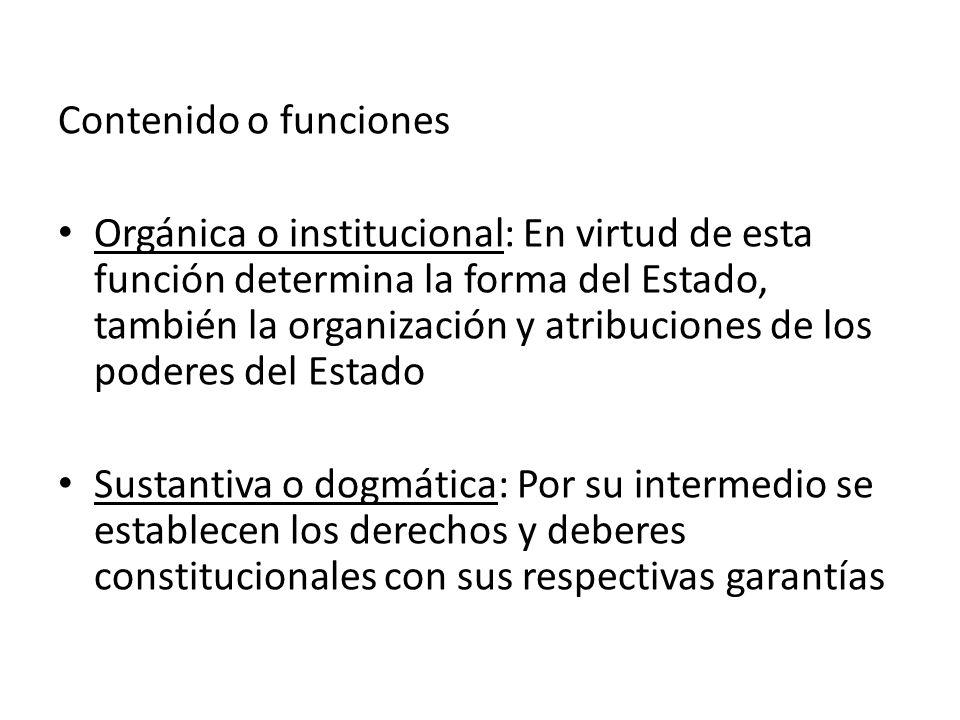 Contenido o funciones Orgánica o institucional: En virtud de esta función determina la forma del Estado, también la organización y atribuciones de los
