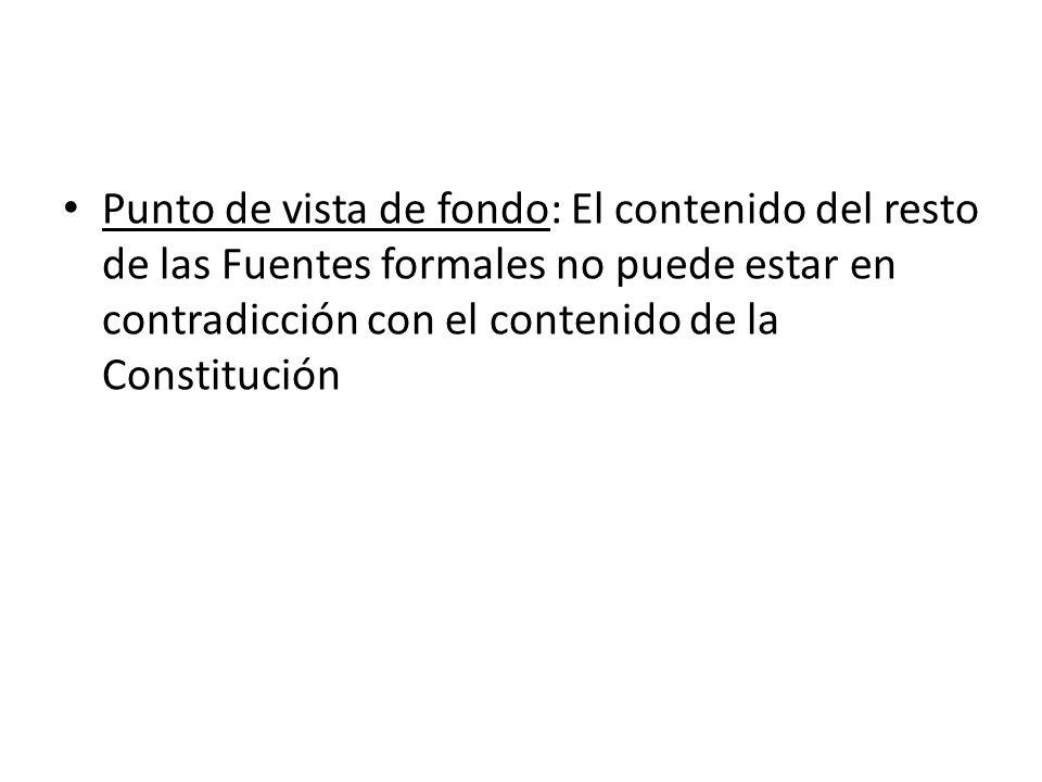 Punto de vista de fondo: El contenido del resto de las Fuentes formales no puede estar en contradicción con el contenido de la Constitución