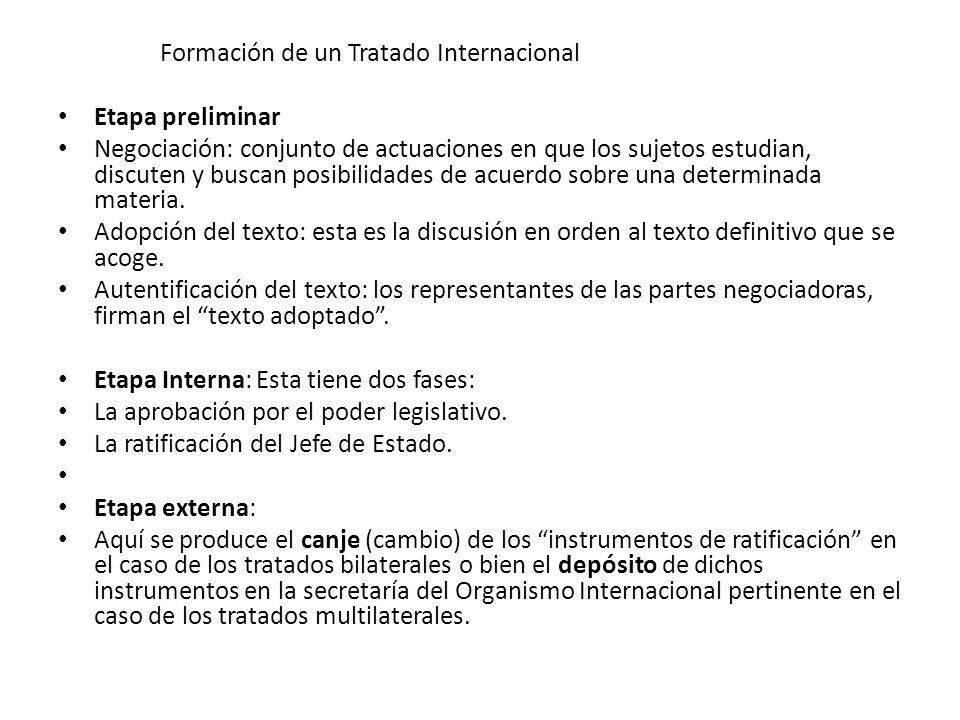 Formación de un Tratado Internacional Etapa preliminar Negociación: conjunto de actuaciones en que los sujetos estudian, discuten y buscan posibilidad
