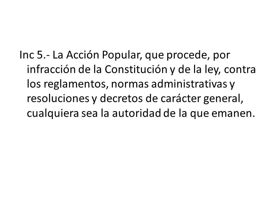 Inc 5.- La Acción Popular, que procede, por infracción de la Constitución y de la ley, contra los reglamentos, normas administrativas y resoluciones y