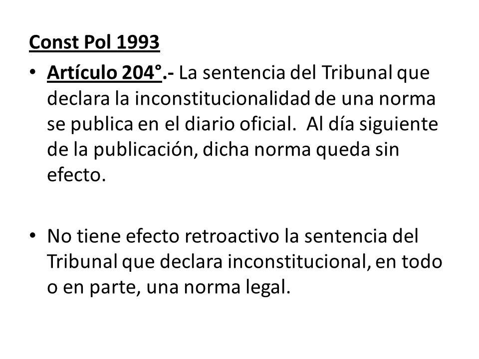 Const Pol 1993 Artículo 204°.- La sentencia del Tribunal que declara la inconstitucionalidad de una norma se publica en el diario oficial. Al día sigu