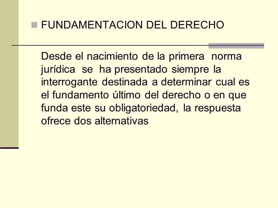 FUNDAMENTACION DEL DERECHO Desde el nacimiento de la primera norma jurídica se ha presentado siempre la interrogante destinada a determinar cual es el