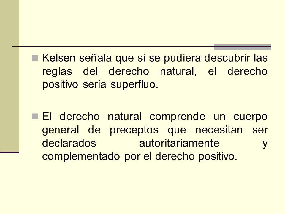 Kelsen señala que si se pudiera descubrir las reglas del derecho natural, el derecho positivo sería superfluo. El derecho natural comprende un cuerpo