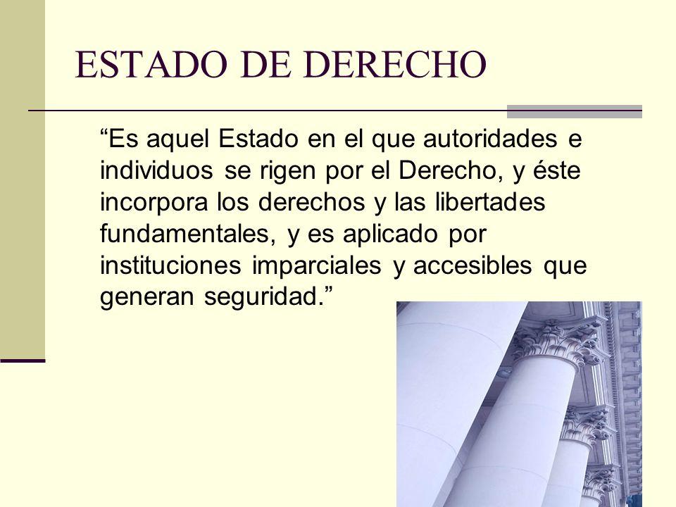 ESTADO DE DERECHO Es aquel Estado en el que autoridades e individuos se rigen por el Derecho, y éste incorpora los derechos y las libertades fundament