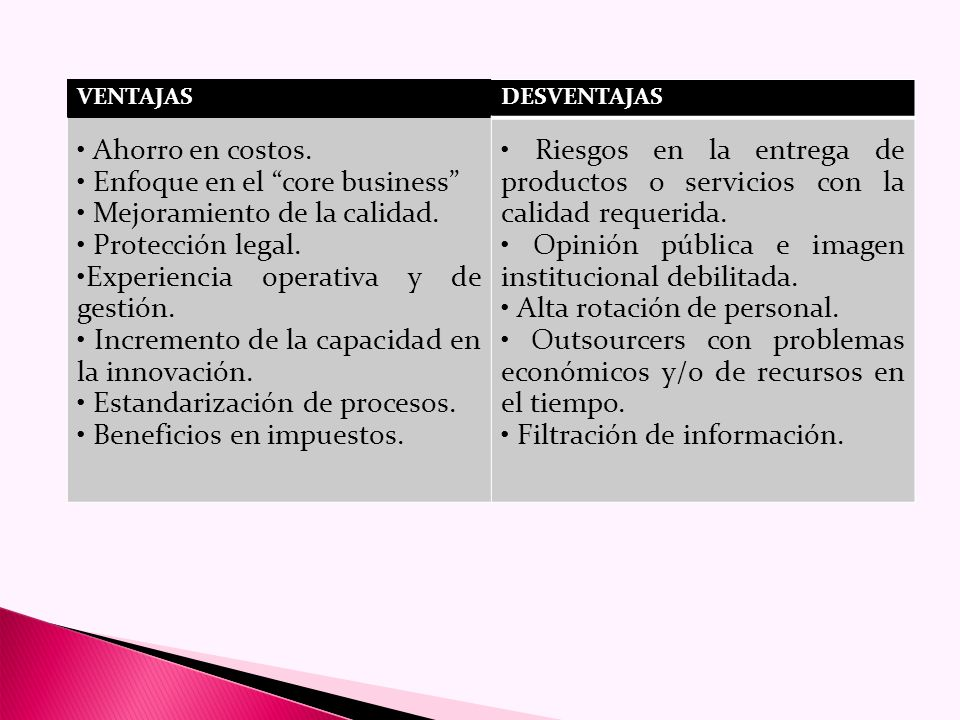 PARTES DEL CONTRATO En el contrato de outsourcing intervienen dos partes contratantes: La empresa que contrata el outsourcing; empresa cliente que, en términos generales, es la que decide cuál es la actividad que se delegará a la empresa de outsourcing.