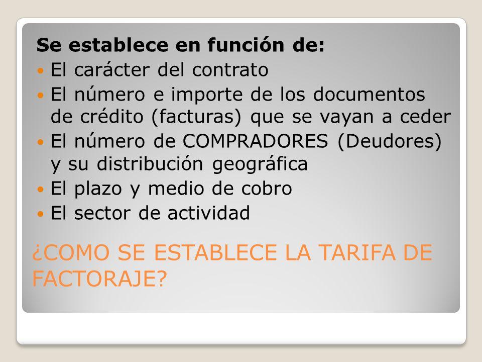 ¿COMO SE ESTABLECE LA TARIFA DE FACTORAJE? Se establece en función de: El carácter del contrato El número e importe de los documentos de crédito (fact
