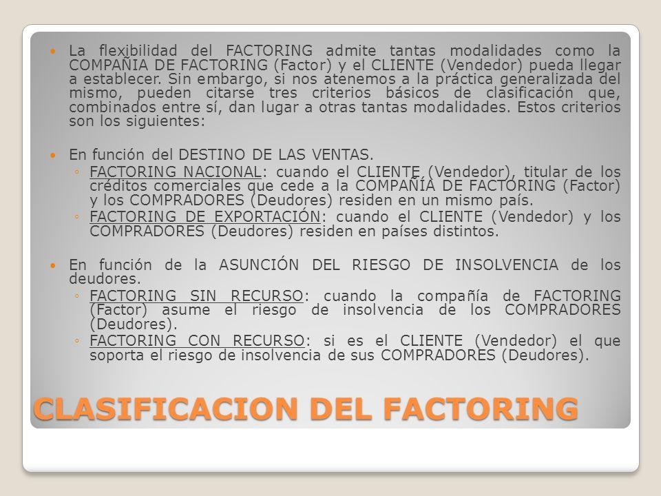 CLASIFICACION DEL FACTORING La flexibilidad del FACTORING admite tantas modalidades como la COMPAÑIA DE FACTORING (Factor) y el CLIENTE (Vendedor) pue