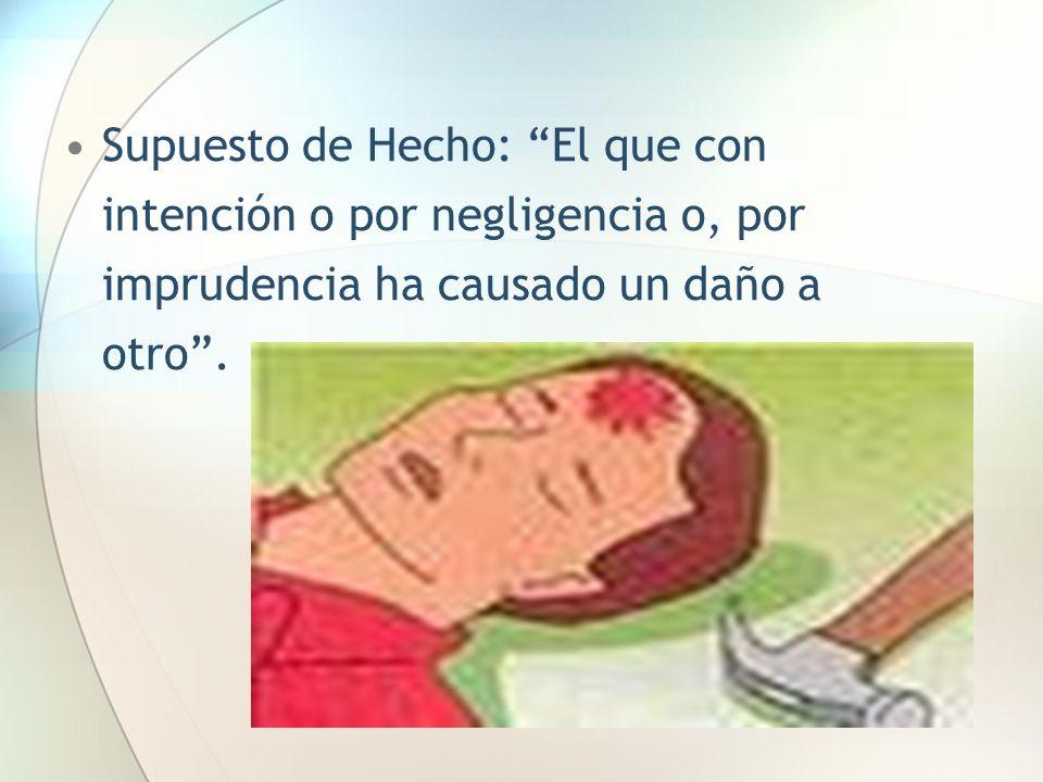 Supuesto de Hecho: El que con intención o por negligencia o, por imprudencia ha causado un daño a otro.
