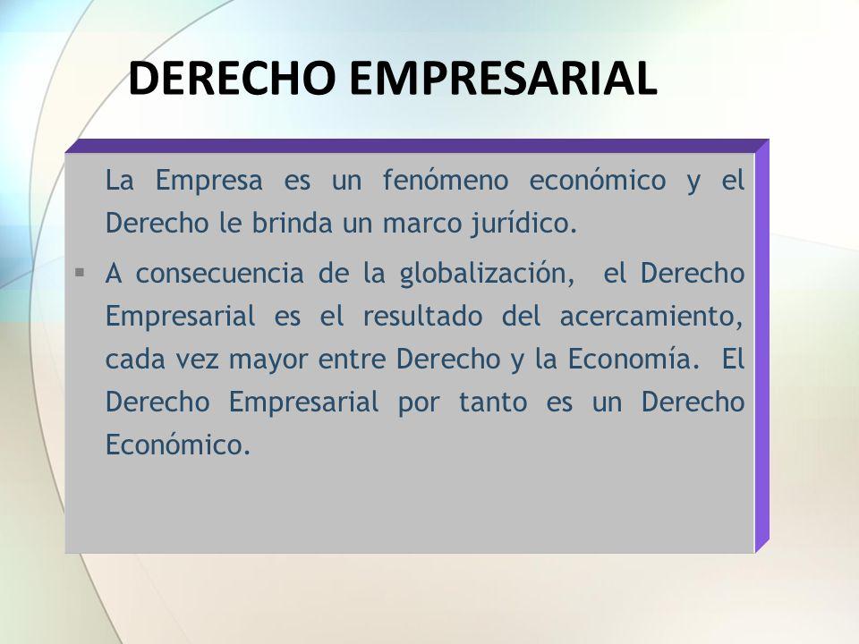 La Empresa es un fenómeno económico y el Derecho le brinda un marco jurídico. A consecuencia de la globalización, el Derecho Empresarial es el resulta