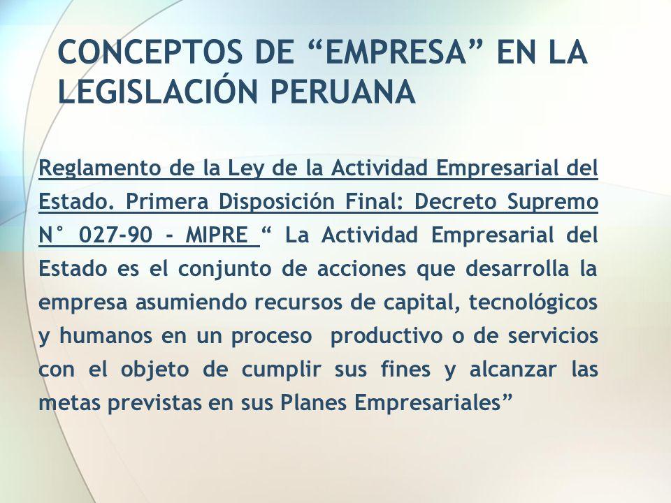 CONCEPTOS DE EMPRESA EN LA LEGISLACIÓN PERUANA Reglamento de la Ley de la Actividad Empresarial del Estado. Primera Disposición Final: Decreto Supremo