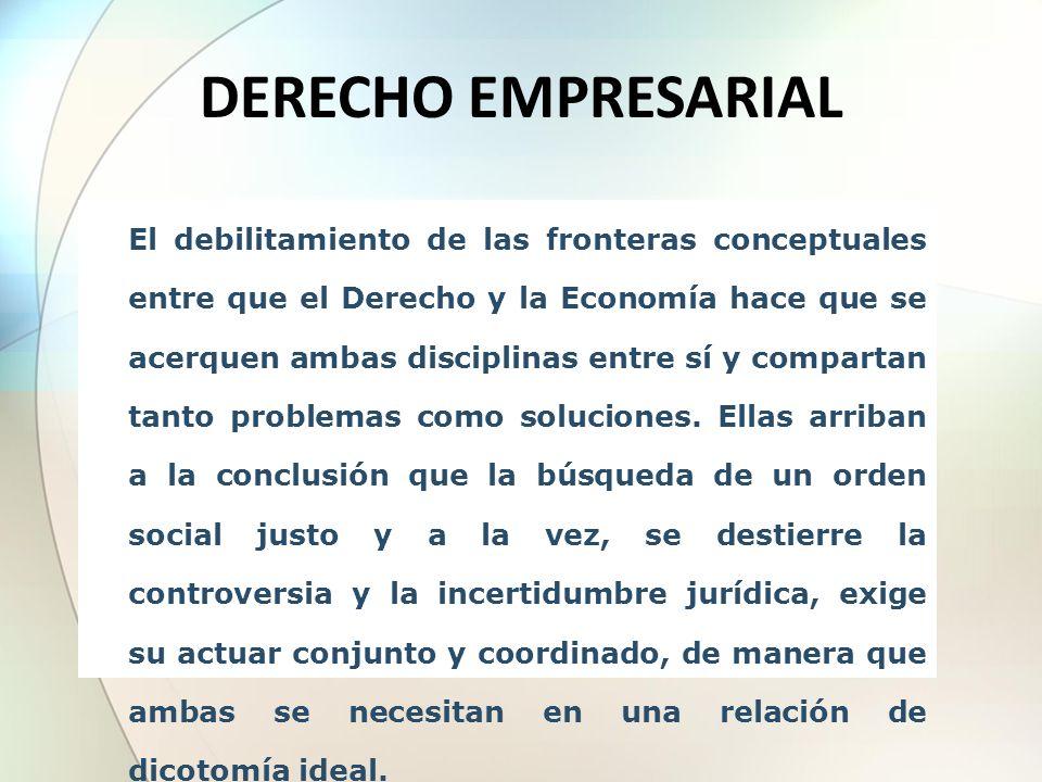El debilitamiento de las fronteras conceptuales entre que el Derecho y la Economía hace que se acerquen ambas disciplinas entre sí y compartan tanto p