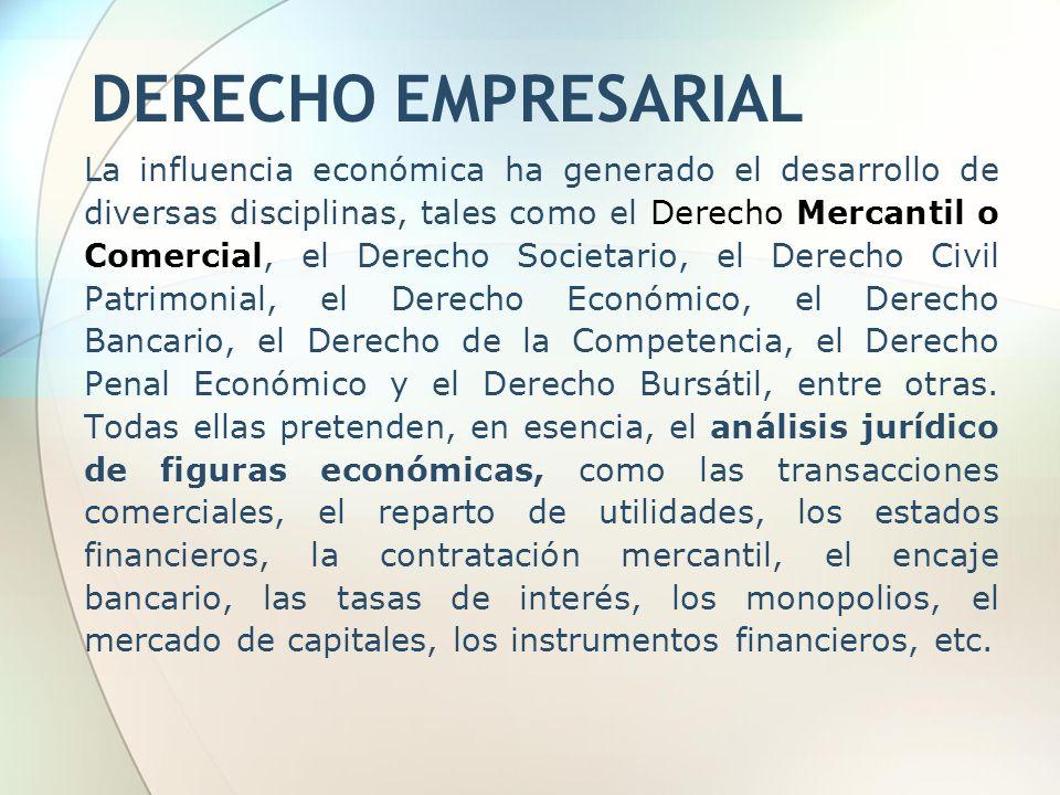La influencia económica ha generado el desarrollo de diversas disciplinas, tales como el Derecho Mercantil o Comercial, el Derecho Societario, el Dere