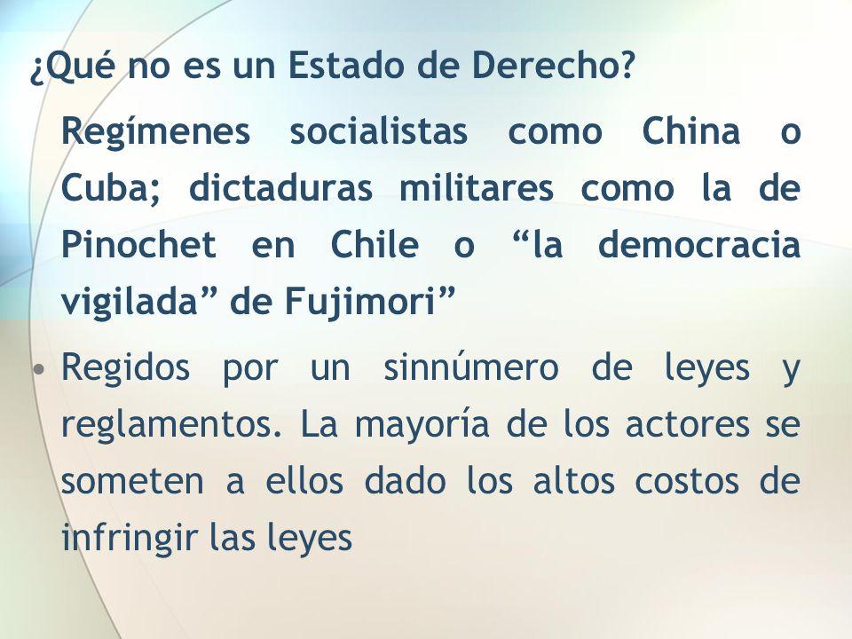 ¿Qué no es un Estado de Derecho? Regímenes socialistas como China o Cuba; dictaduras militares como la de Pinochet en Chile o la democracia vigilada d
