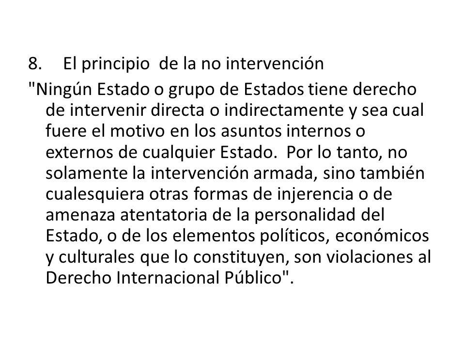8. El principio de la no intervención