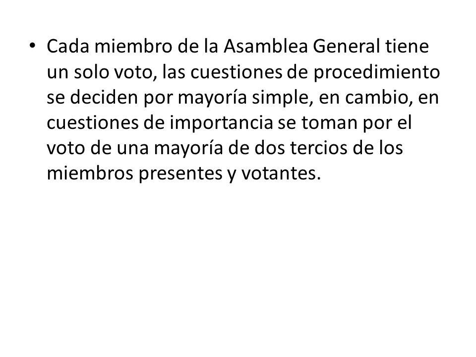 Cada miembro de la Asamblea General tiene un solo voto, las cuestiones de procedimiento se deciden por mayoría simple, en cambio, en cuestiones de imp