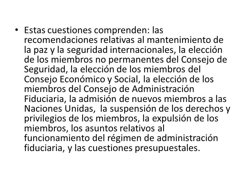 Estas cuestiones comprenden: las recomendaciones relativas al mantenimiento de la paz y la seguridad internacionales, la elección de los miembros no p