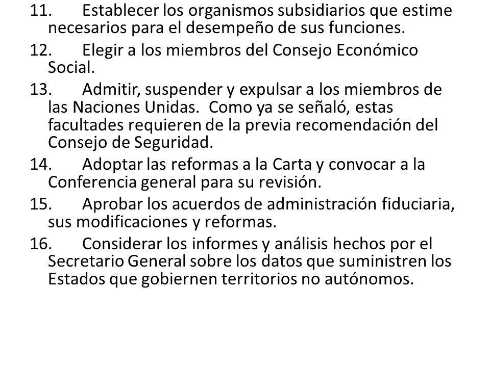 11. Establecer los organismos subsidiarios que estime necesarios para el desempeño de sus funciones. 12. Elegir a los miembros del Consejo Económico S