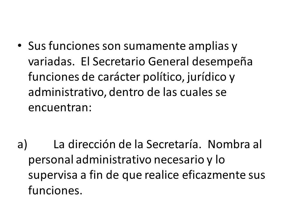 Sus funciones son sumamente amplias y variadas. El Secretario General desempeña funciones de carácter político, jurídico y administrativo, dentro de l