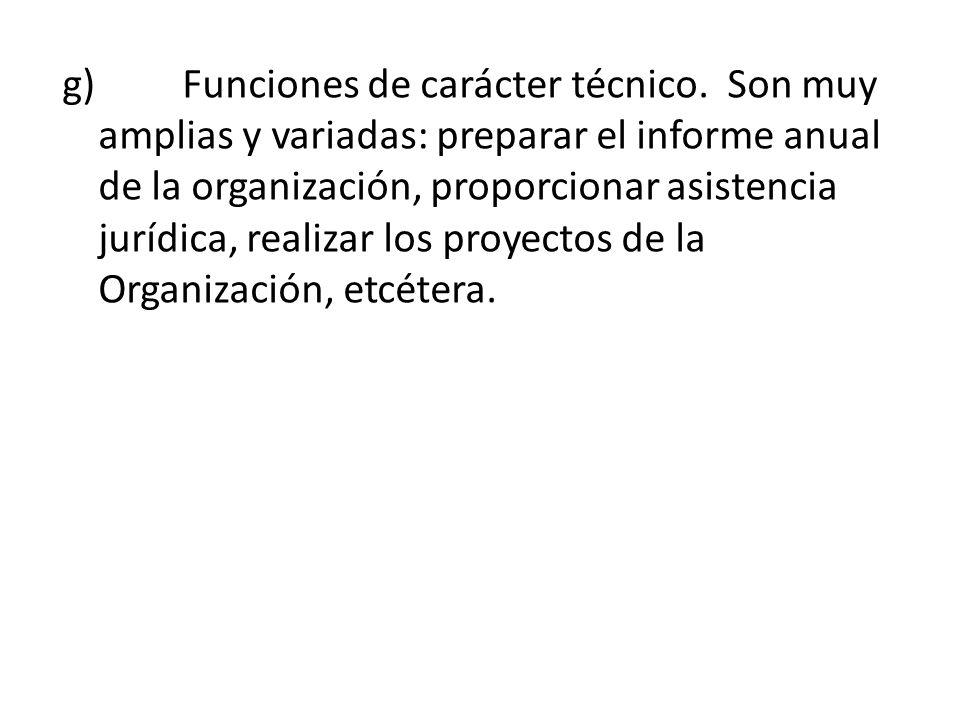 g) Funciones de carácter técnico. Son muy amplias y variadas: preparar el informe anual de la organización, proporcionar asistencia jurídica, realizar