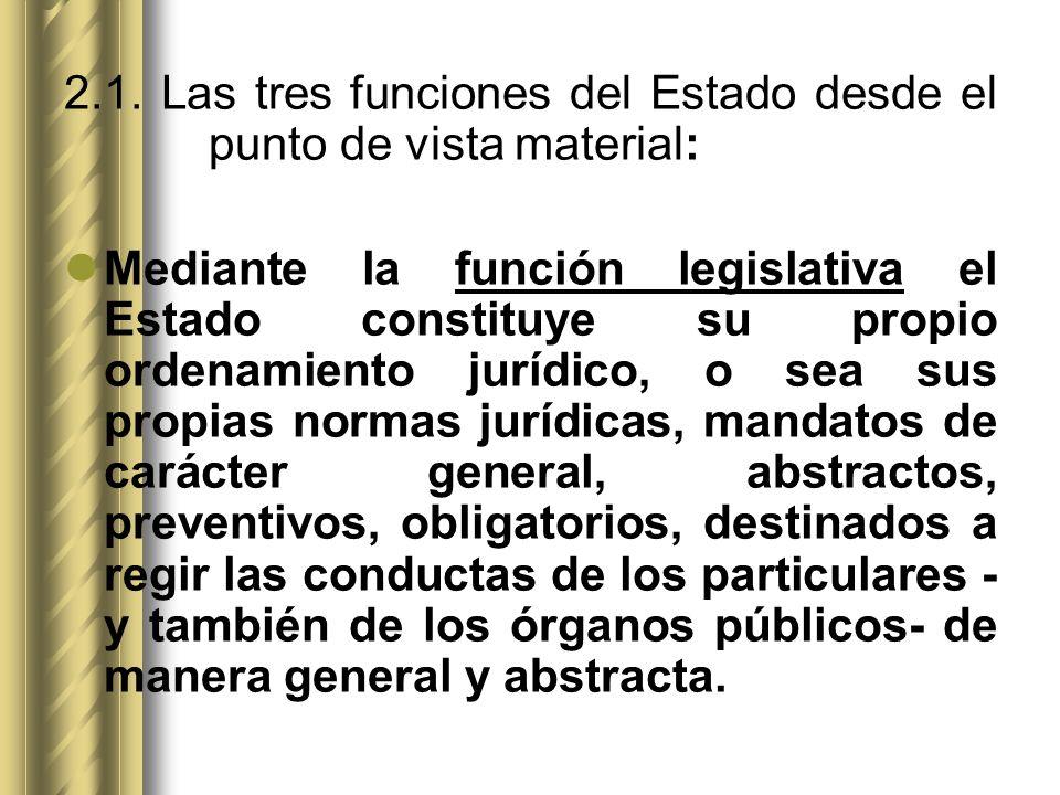 2.1. Las tres funciones del Estado desde el punto de vista material: Mediante la función legislativa el Estado constituye su propio ordenamiento juríd