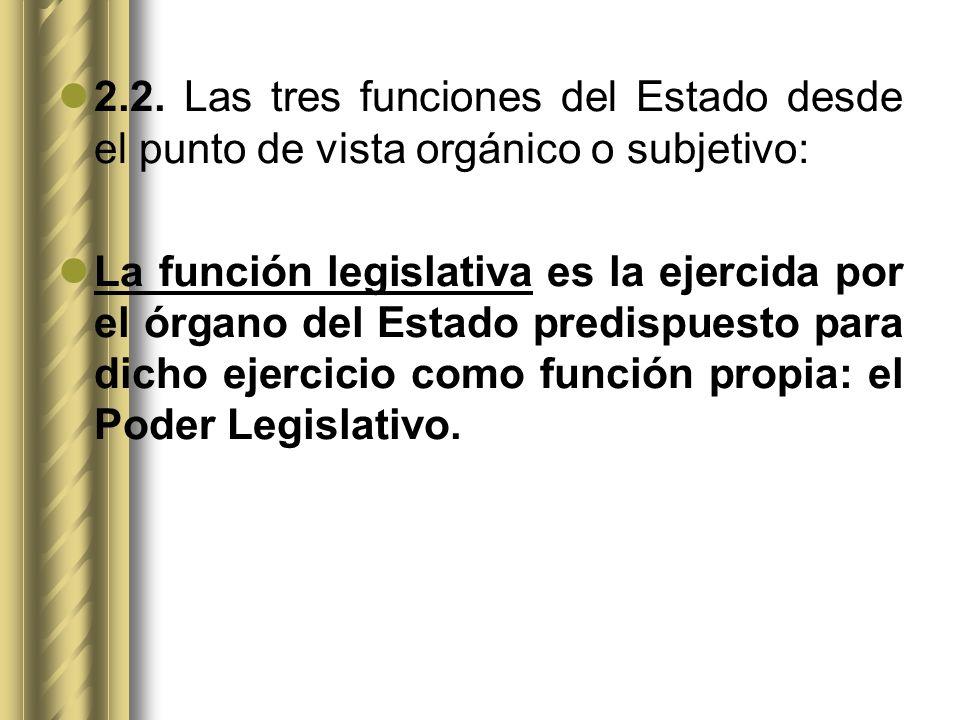 2.2. Las tres funciones del Estado desde el punto de vista orgánico o subjetivo: La función legislativa es la ejercida por el órgano del Estado predis