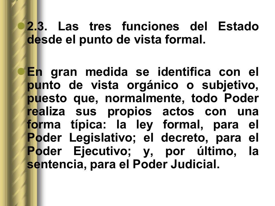 2.3. Las tres funciones del Estado desde el punto de vista formal. En gran medida se identifica con el punto de vista orgánico o subjetivo, puesto que