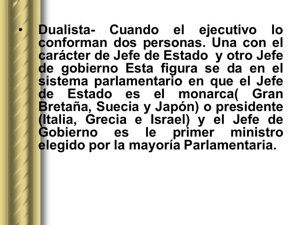 Dualista- Cuando el ejecutivo lo conforman dos personas. Una con el carácter de Jefe de Estado y otro Jefe de gobierno Esta figura se da en el sistema