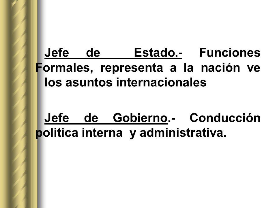 Jefe de Estado.- Funciones Formales, representa a la nación ve los asuntos internacionales Jefe de Gobierno.- Conducción politica interna y administra