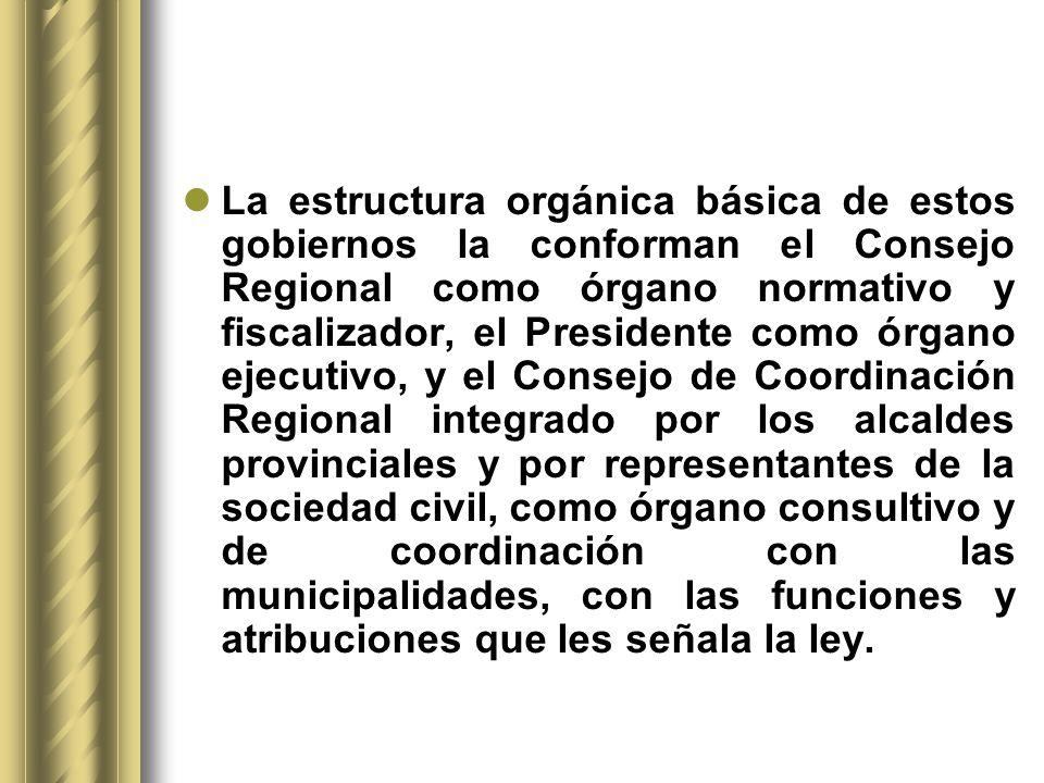 La estructura orgánica básica de estos gobiernos la conforman el Consejo Regional como órgano normativo y fiscalizador, el Presidente como órgano ejec