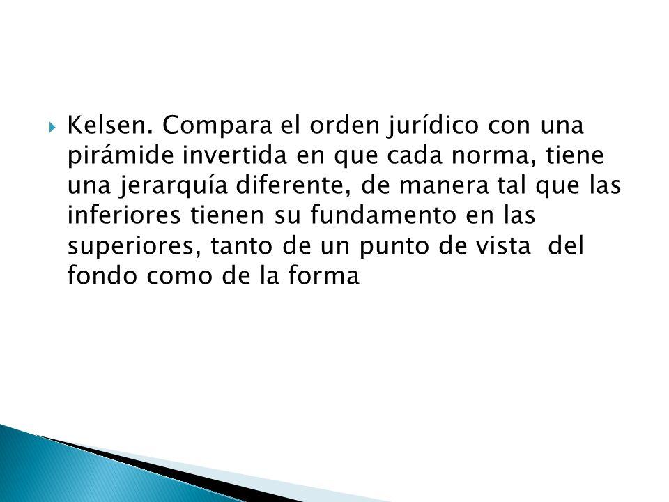 Kelsen. Compara el orden jurídico con una pirámide invertida en que cada norma, tiene una jerarquía diferente, de manera tal que las inferiores tienen