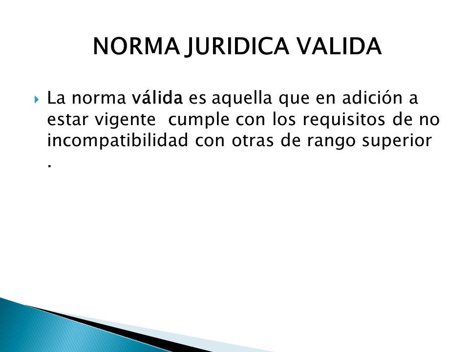 NORMA JURIDICA VALIDA La norma válida es aquella que en adición a estar vigente cumple con los requisitos de no incompatibilidad con otras de rango su
