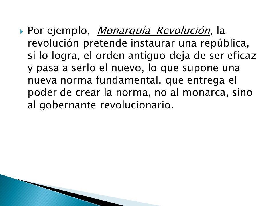 Por ejemplo, Monarquía-Revolución, la revolución pretende instaurar una república, si lo logra, el orden antiguo deja de ser eficaz y pasa a serlo el