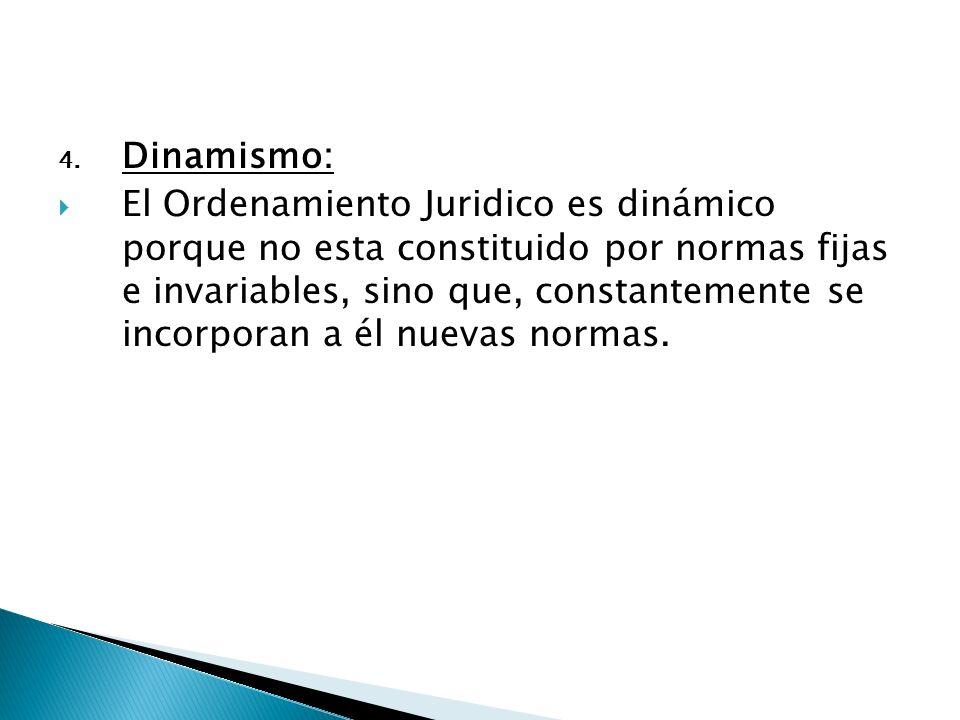 4. Dinamismo: El Ordenamiento Juridico es dinámico porque no esta constituido por normas fijas e invariables, sino que, constantemente se incorporan a