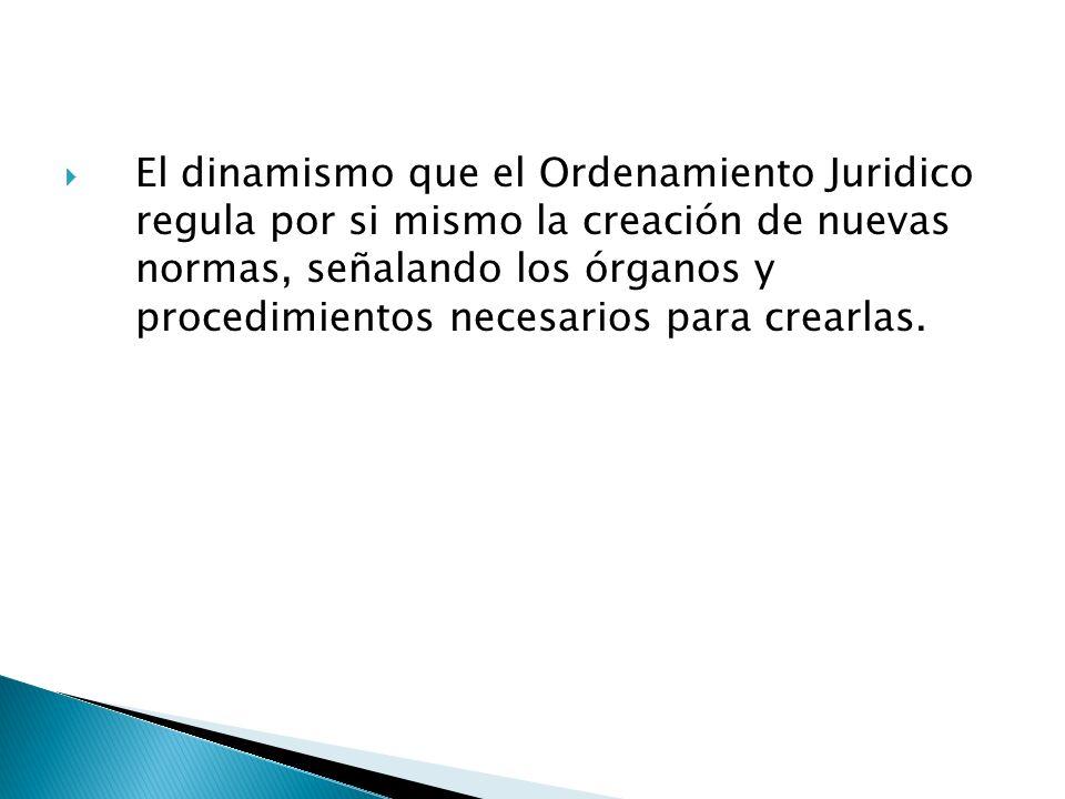 El dinamismo que el Ordenamiento Juridico regula por si mismo la creación de nuevas normas, señalando los órganos y procedimientos necesarios para cre