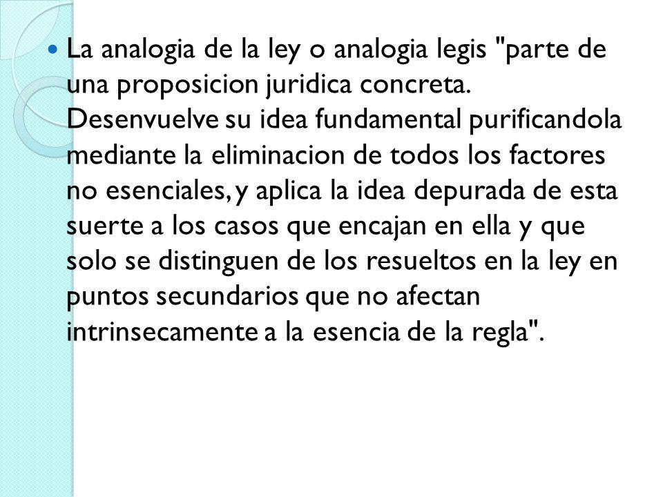 La analogia de la ley o analogia legis