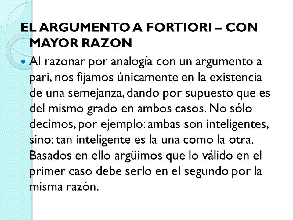 EL ARGUMENTO A FORTIORI – CON MAYOR RAZON Al razonar por analogía con un argumento a pari, nos fijamos únicamente en la existencia de una semejanza, d