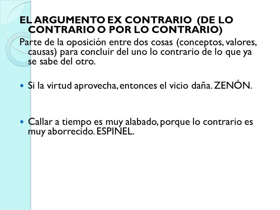 EL ARGUMENTO EX CONTRARIO (DE LO CONTRARIO O POR LO CONTRARIO) Parte de la oposición entre dos cosas (conceptos, valores, causas) para concluir del un