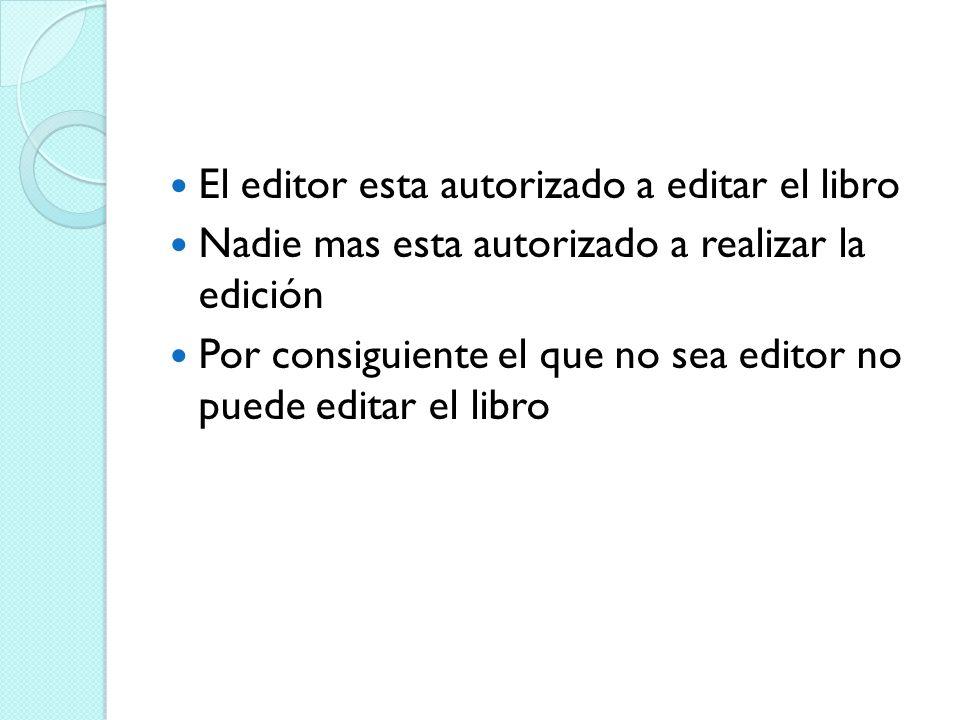 El editor esta autorizado a editar el libro Nadie mas esta autorizado a realizar la edición Por consiguiente el que no sea editor no puede editar el l