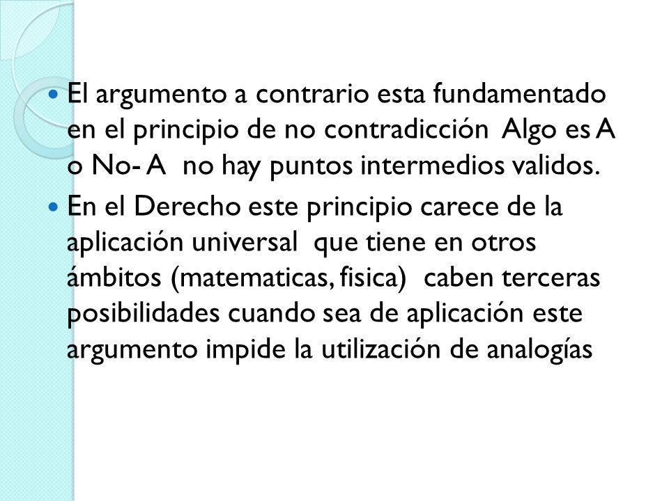 El argumento a contrario esta fundamentado en el principio de no contradicción Algo es A o No- A no hay puntos intermedios validos. En el Derecho este